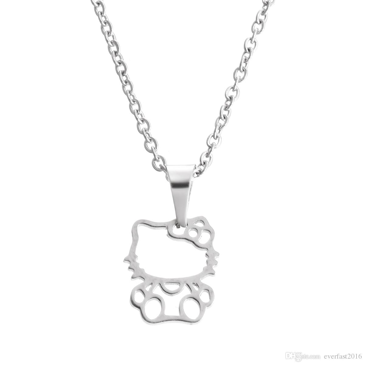 Wholesale everfast fashion new stainless steel necklacecute hollow wholesale everfast fashion new stainless steel necklacecute hollow out hello kitty pendant kids girls chokers statement necklace lucky gift sn011 heart aloadofball Image collections