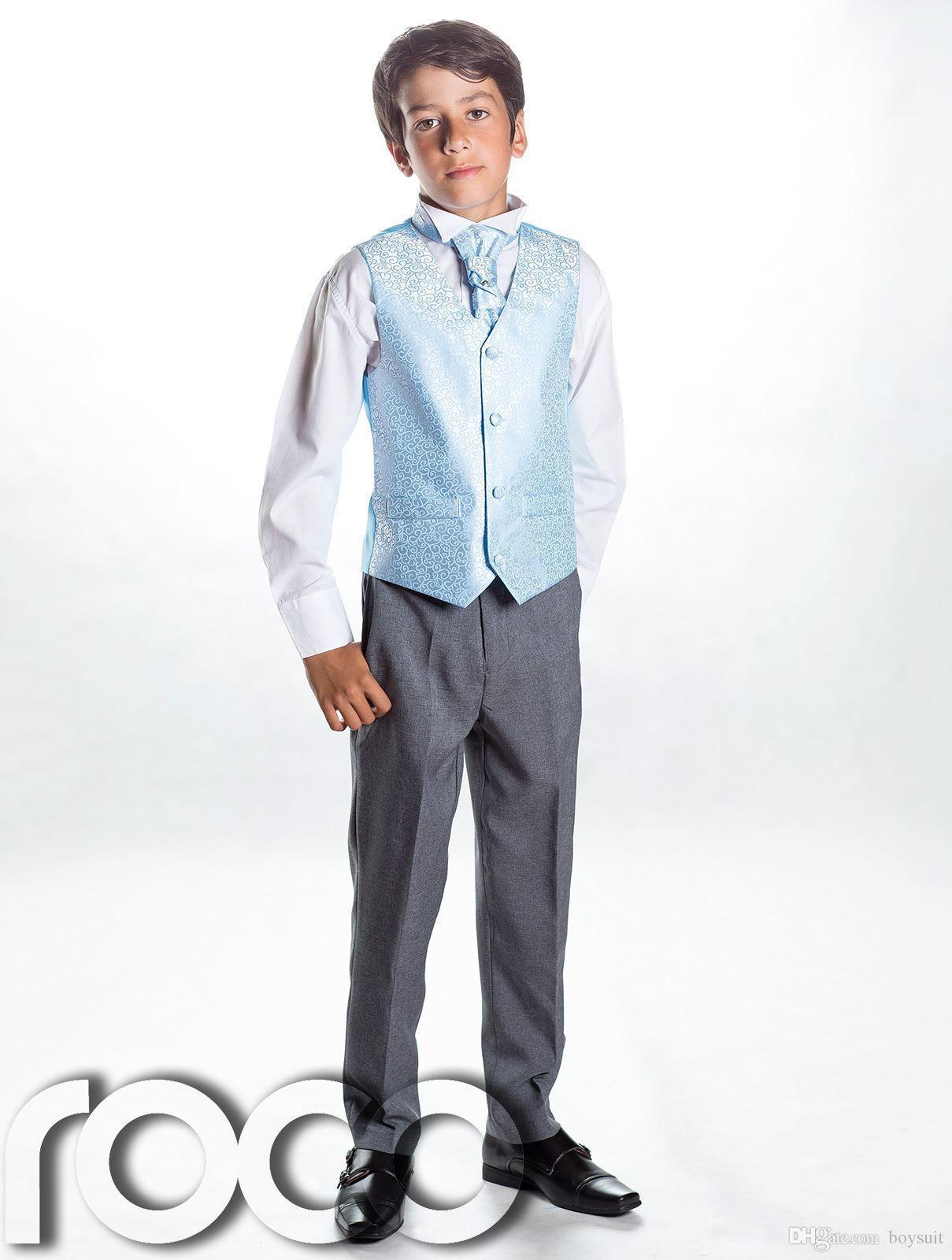 Großhandel Jungen Blau Grau Anzug, Page Boy Anzüge, Jungen ...
