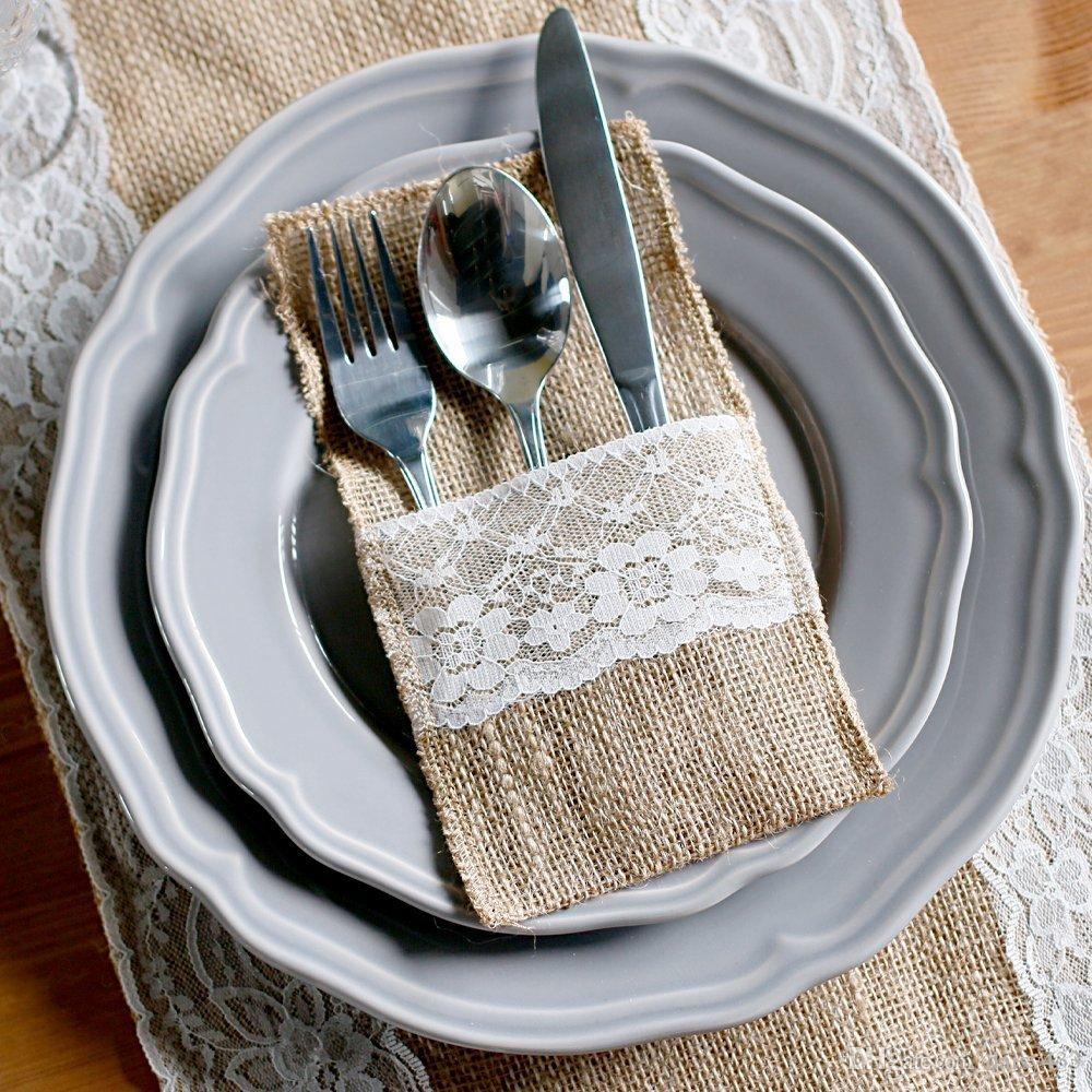 100pack 4 x 8 natural burlap silverware napkin holders cutlery pouch for vintage wedding decor bridal shower party table setting decoratio destination