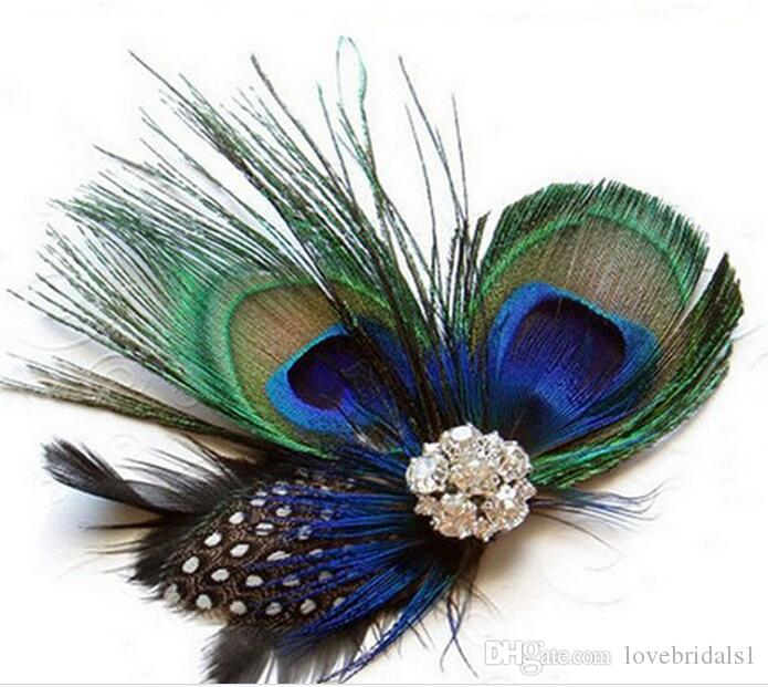 In stockEuropean and American hair with peacock feather hairpin hair accessories 2019 hot sale dance party headdress with a drill hoop