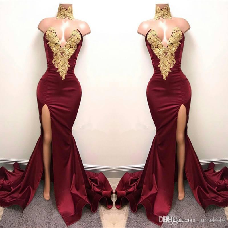 2019 Modest Burgundy Mermaid Split Sexy Evening Formal Dresses Sparkly Gold Embroidery High Neck African Arabic Occasion Prom Gowns