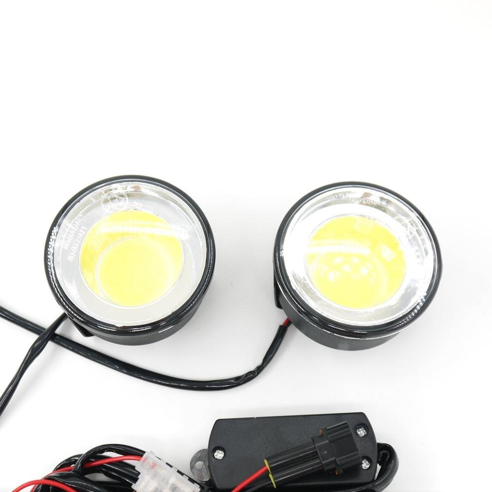 Eonstime 12V / 24V DRL Ultra Bright Round 8W COB LED Eagle Eye Auto Nebbia DRL Daytime Running Lights LED Work ATV Eagle Eye IP67