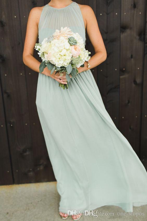 Elegante Sage Chiffon Ruches Land Bruidsmeisjes Jurken Vloer Lengte Lange Bruiloft Prom Jurk Zomer Beach Maid of Honour