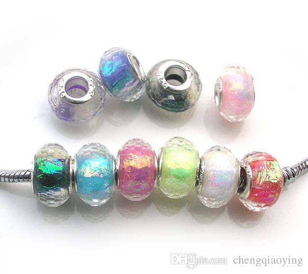100 Pcs Colorful Resin Beads European Beads For Necklaces DIY Jewelry Making