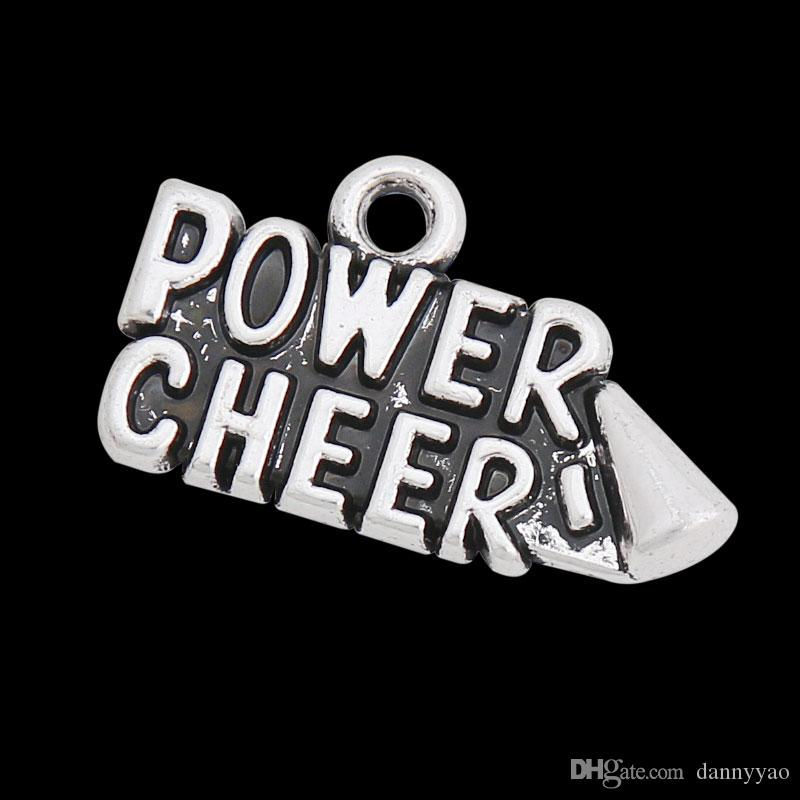 Alloy Vintage Power Cheer Message Charm For Sport Team Cheerleader Spirit AAC796