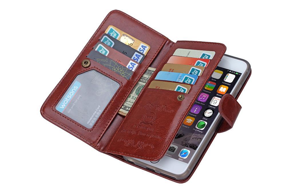 2in1 magnetische afneembare 9 kaart portemonnee lederen tas voor iphone 6 plus iphone 7 plus Galaxy S7 EDGE S6 EDGE plus noot 4 noot 5 /