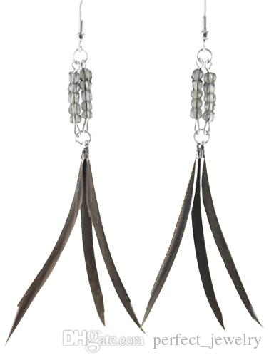 Slim Feather Earrings wholesale Cute Bead Charm Light Dangle Eardrop Hot  Royal Black Green Gray Turquoise Brown  JF049