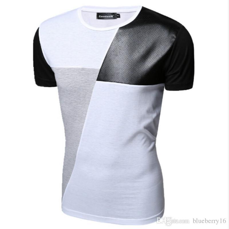 58c92c6ce8b4 M XXL PU Leather T Shirt Men High Quality Splice Short Sleeve T Shirt  Fashion Cotton Casual O Neck Hip Hop Mens Tops Tee T Shart Fun Shirts From  Blueberry16 ...