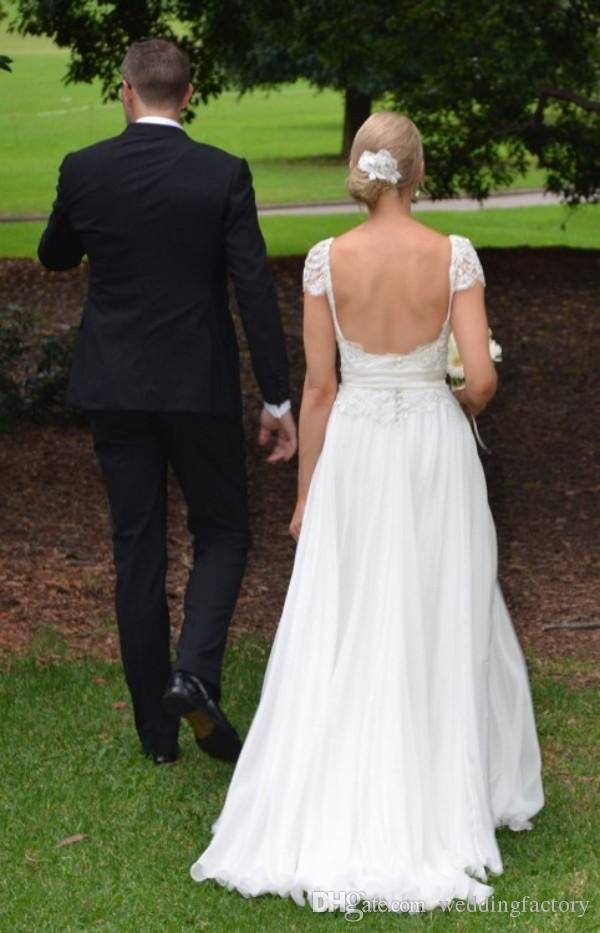 Stunning Capped Shoulder Country Wedding Dress V Neck Lace Appliques Top Backless Chiffon Beach Bridal Gowns with Sash Custom Made