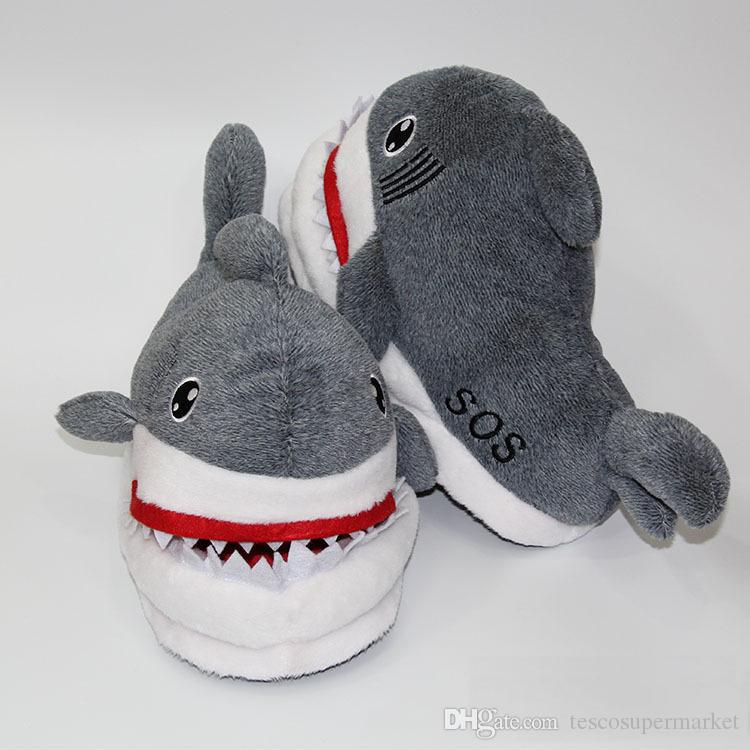 Suck Off Sharks SOS Plush Slipper Winter Warm Cute Soft Doll Shoes Indoor Slippers Cosplay Toy