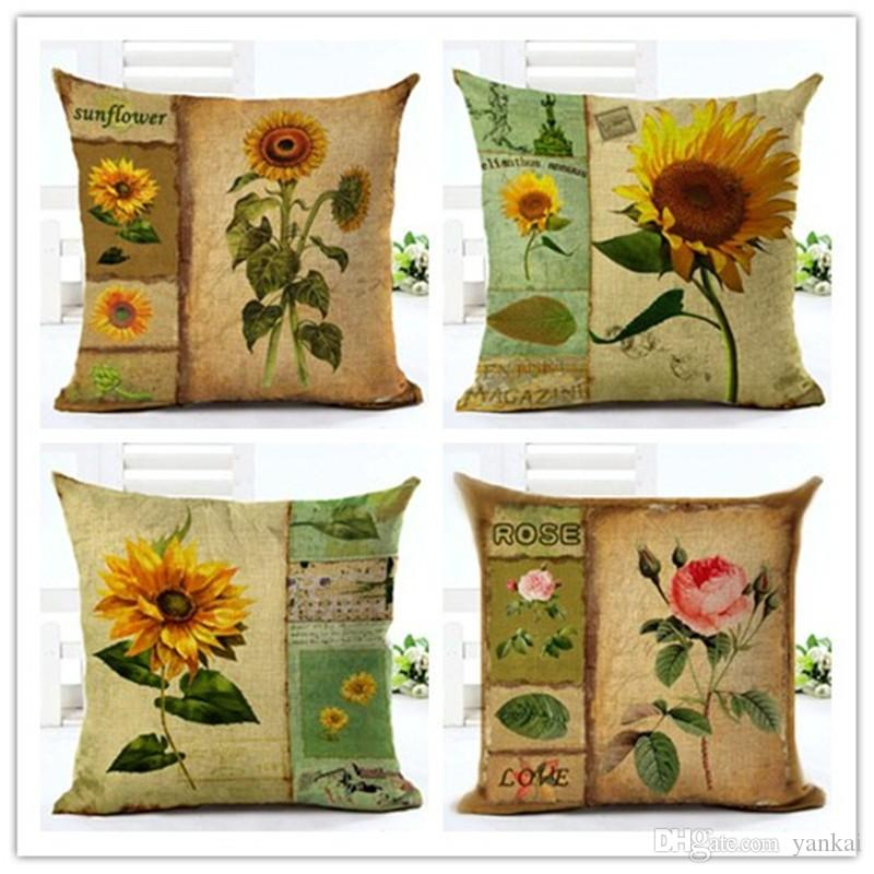 Vintage Sunflower Simple Painting Cotton Linen Cushion Cover New Style  Pillowcase Home Decor Bed Car Throw Pillows Decorative Cojines Outdoor  Chaise Lounge ...