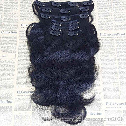 "Body Wave Clip in Hair/100g 14""-26'' Thick Full Head Wavy Clip in Human Hair Extensions #1 Jet Black Remy Clip in Hair"