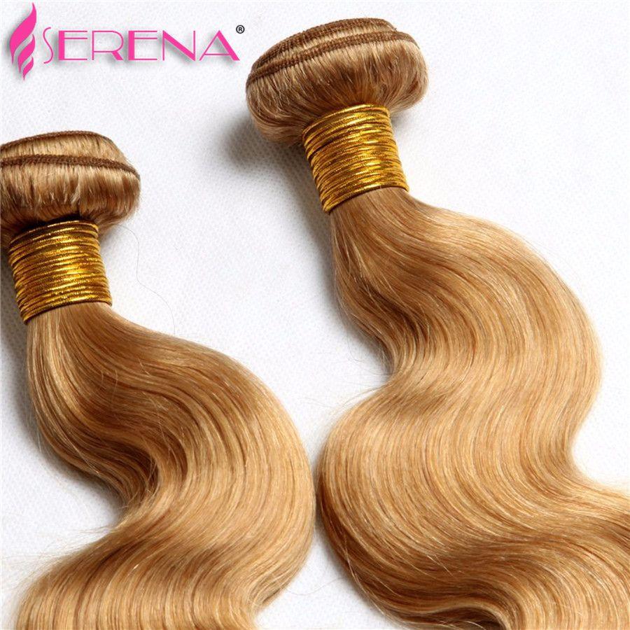 Honey Blonde Extensions Peruvian Malaysian Indian Russian Hair Wave Body Wave 3 Bundles Color 27 # Extensiones brasileñas de cabello