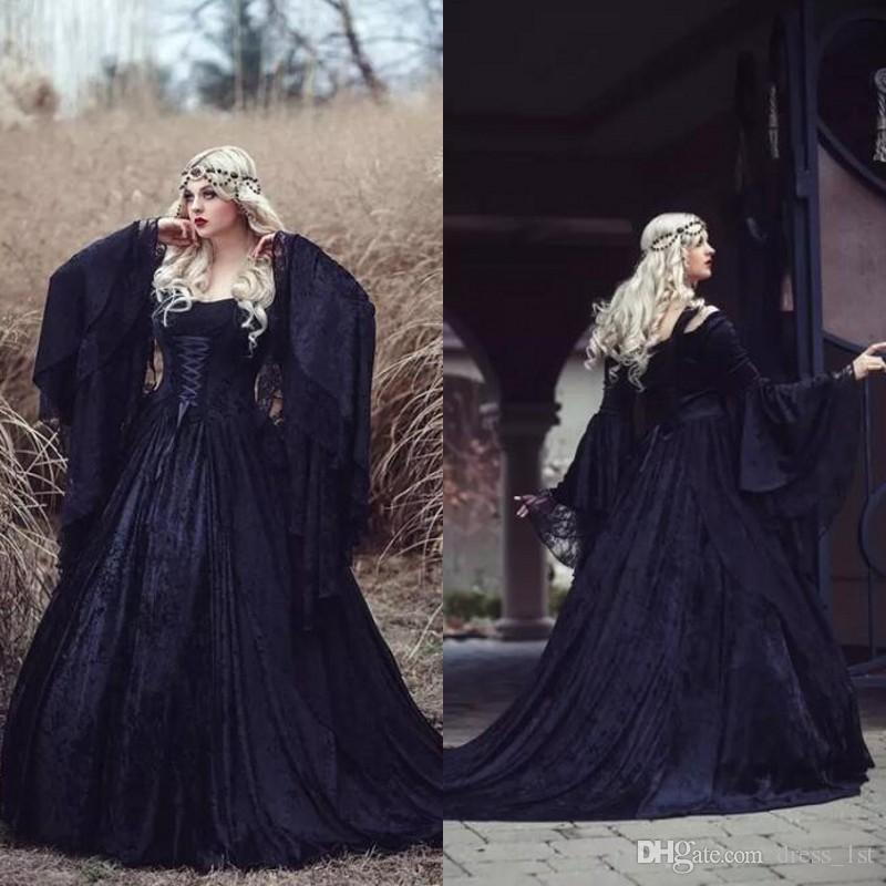 b34f4baa30145 Discount Retro 2018 Black Gothic Wedding Dresses Off The Shoulder A Line  Bell Long Sleeves Full Lace Medieval Corset Bridal Gowns Wedding Dresse  Wedding ...