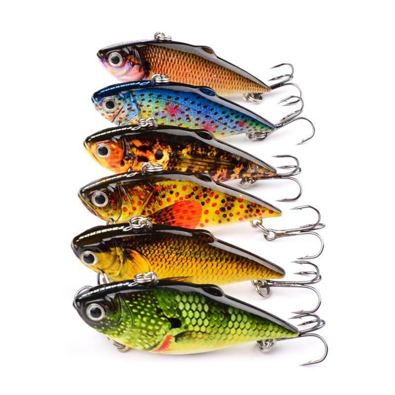 Fly Fishing VIB Crankbait Окрашенные реалистичные Рыба 3D Глаза 6,5 см 8,5 г Картина рыбы ясно литья Лазерная искусственная приманка