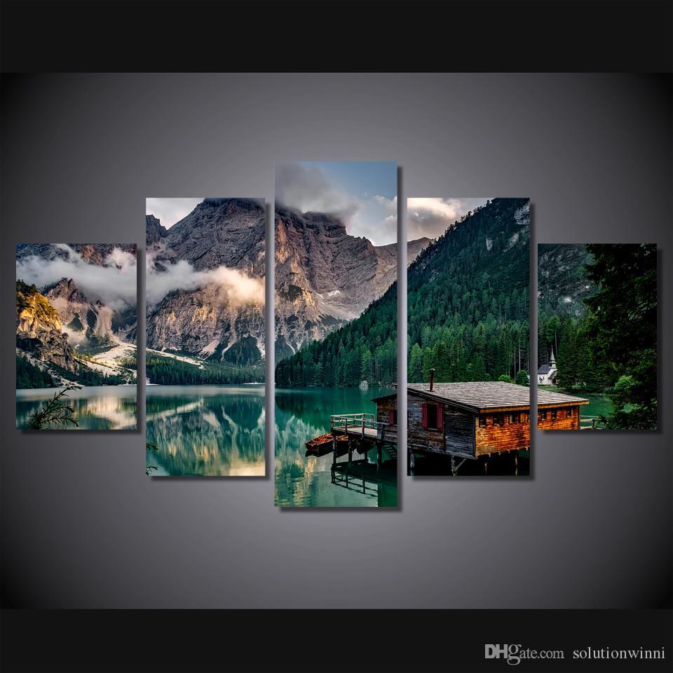 5 Pçs / set Emoldurado HD Impresso Lago Barco Montanha Retratos Da Parede Da Lona Impressão Cartaz Asiático Moderna Pintura Tinta Lona Para Casas