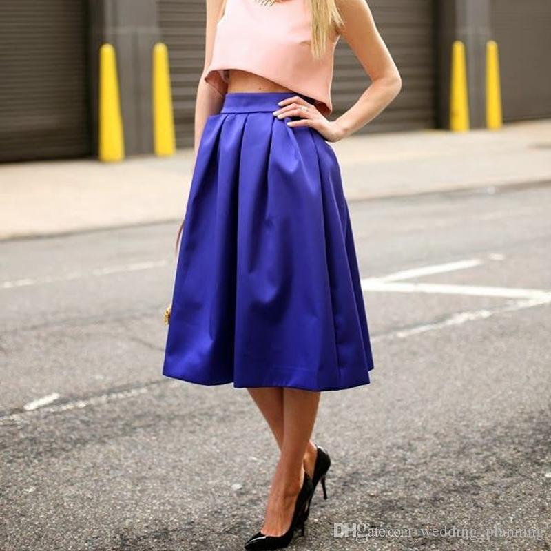 Compre Royal Blue Una Línea De Faldas De Satén 2017 Exquisito Té ...