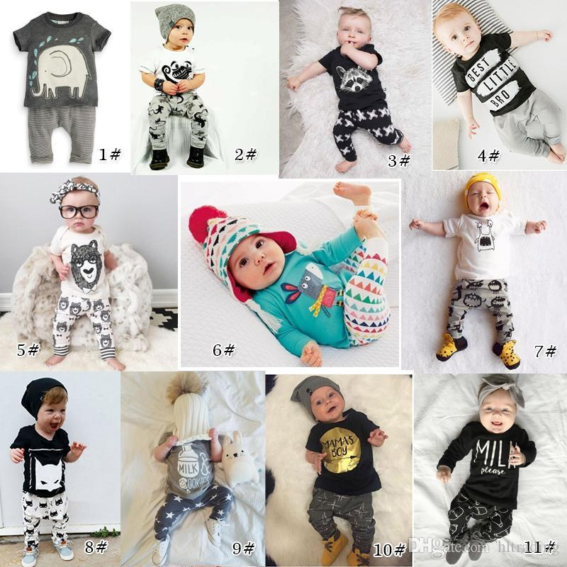efede2b672dc New INS Baby Boys Girls Letter Sets Top T-shirt+Pants Kids Toddler ...