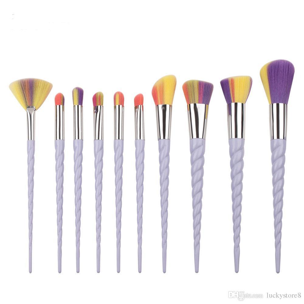 Rainbrow Makeup Brushes Set Spiral Shell Colorful Brushes Professional Powder Tool Thread Cosmetic Brush Kit DHl ship