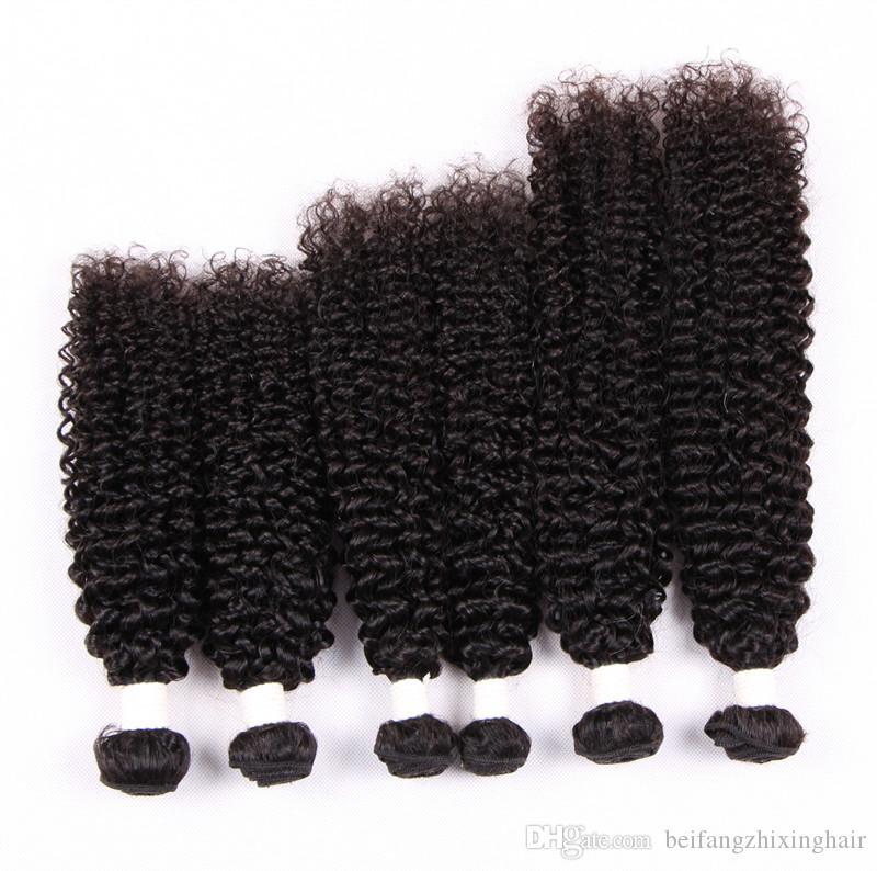 Sınıf 5A-Jerry kıvırcık saç demeti% 100% İnsan Virgin Hint saç Ücretsiz tangleshedding, 100g / Pc doğal renk, ücretsiz dhl