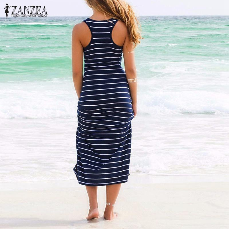 Wholesale- 2016 Summer Style ZANZEA Women Striped Boho Long Maxi Sleeveless  Beach Vest Dress Sexy Ladies Casual Dress Vestidos Plus Size Dress Union  Dress ... 03c17f9347dd