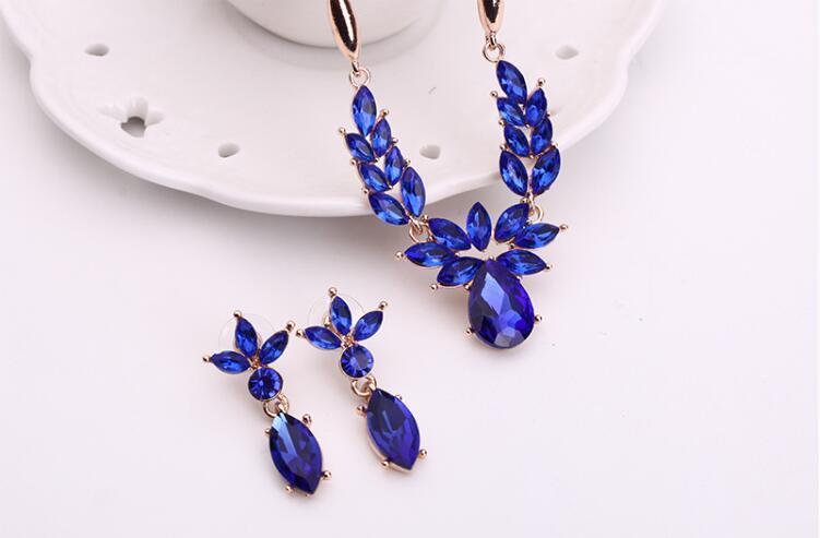 Crystal Flower necklace Earrings Luxury Gold Leaf Water Drop Sapphire Pedant Necklace Jewelry Set Women Bride Wedding Jewelry