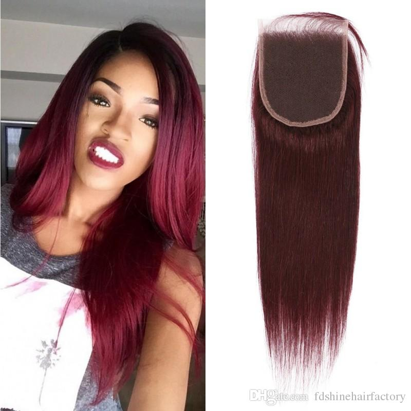 Burgundy Lace Closure with Baby Hair Mongolian Virgin Hair 99J Lace Closure Middle Free 3 Part Top Closure FDSHINE