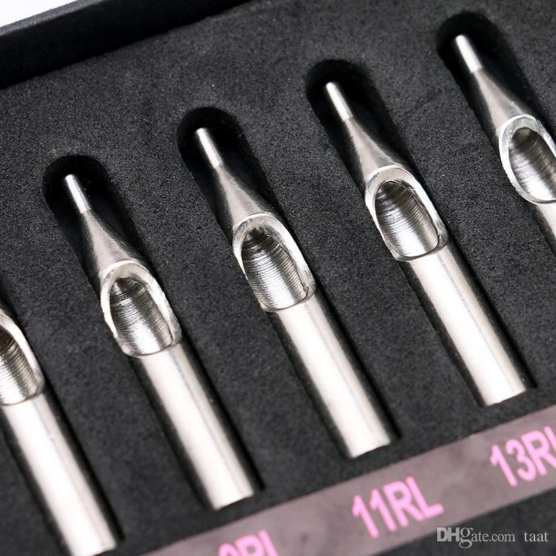 22 Stücke Edelstahl Tattoo Düsenspitzen für Maschinengewehr Nadeln Rohr Kit Box Neues Freies ShippingTG3121