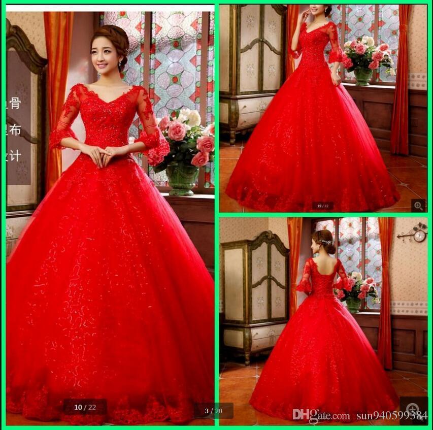 Compre Vestidos De Novia Vestido De Novia Vestido De Novia Roja ...