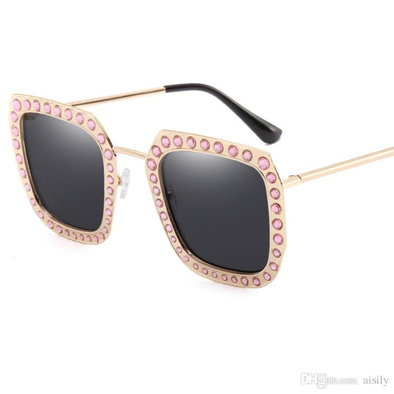 FashionCrystal Decoration Metal Frame Women Square Occhiali da sole Oversize Ladies Gradient / Clear Lens Shades UV400 L98