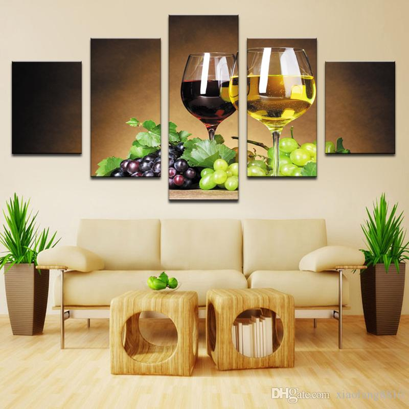 home decoration 5 piece Wine cups pictures canvas oil painting on wall art for living room print decor cheap modern (no frames)