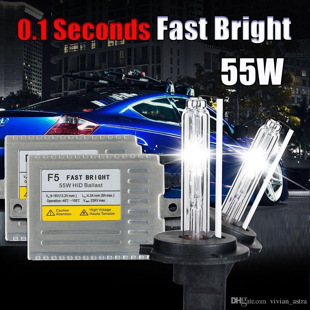 0.1 SECONDE H7 XENON HID kit Ballast de démarrage rapide 12v 55w F5 H1 H3 H4 H7 H11 9005 9006 881 D2S caché lampe au xénon voiture phare ampoule