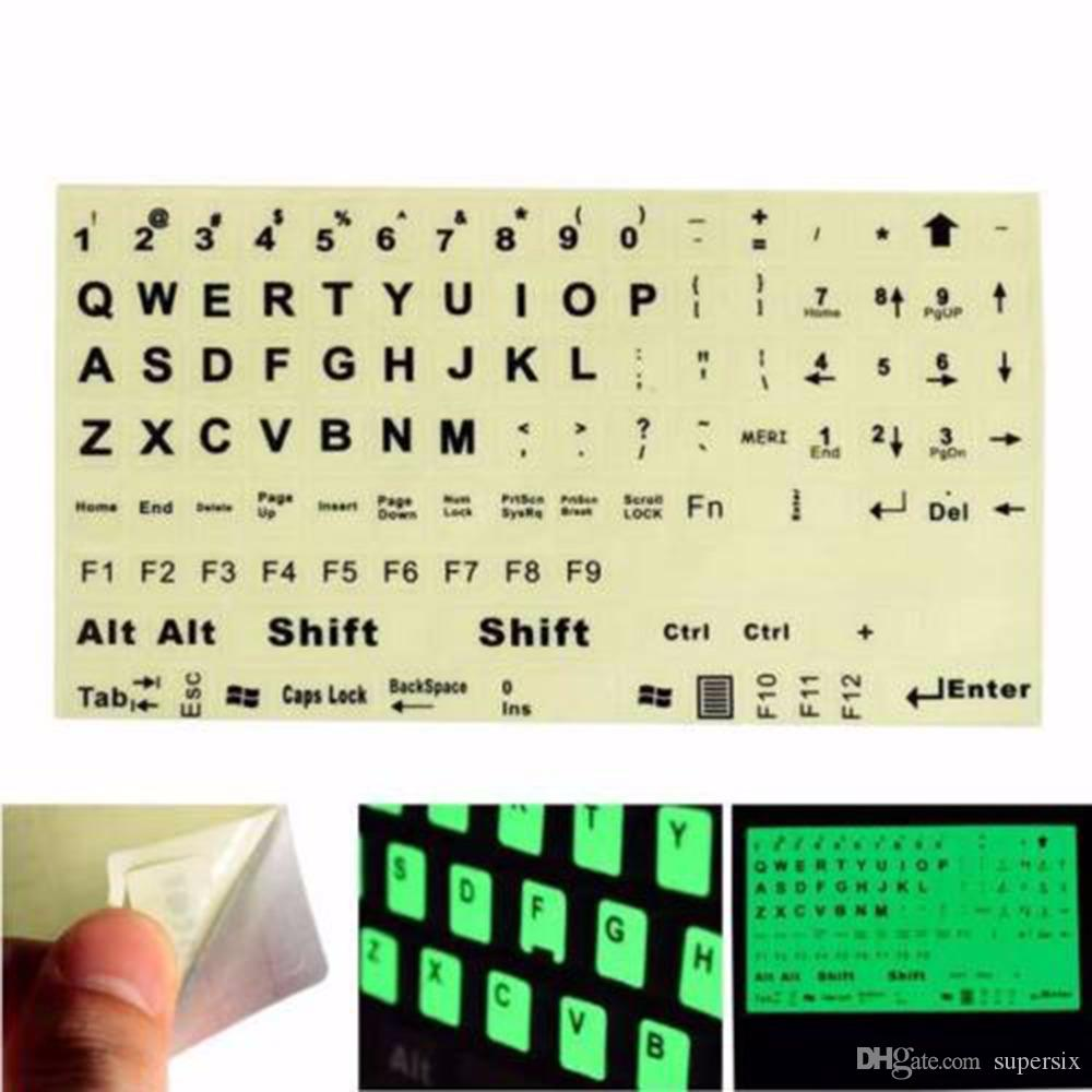 a9299963bdb English Standard Keyboard Sticker General PC Laptop Fluorescent Keyboard  Cover Luminous Full Keyboard Large Letter Sticker Pc Keyboard Covers Laptop  ...