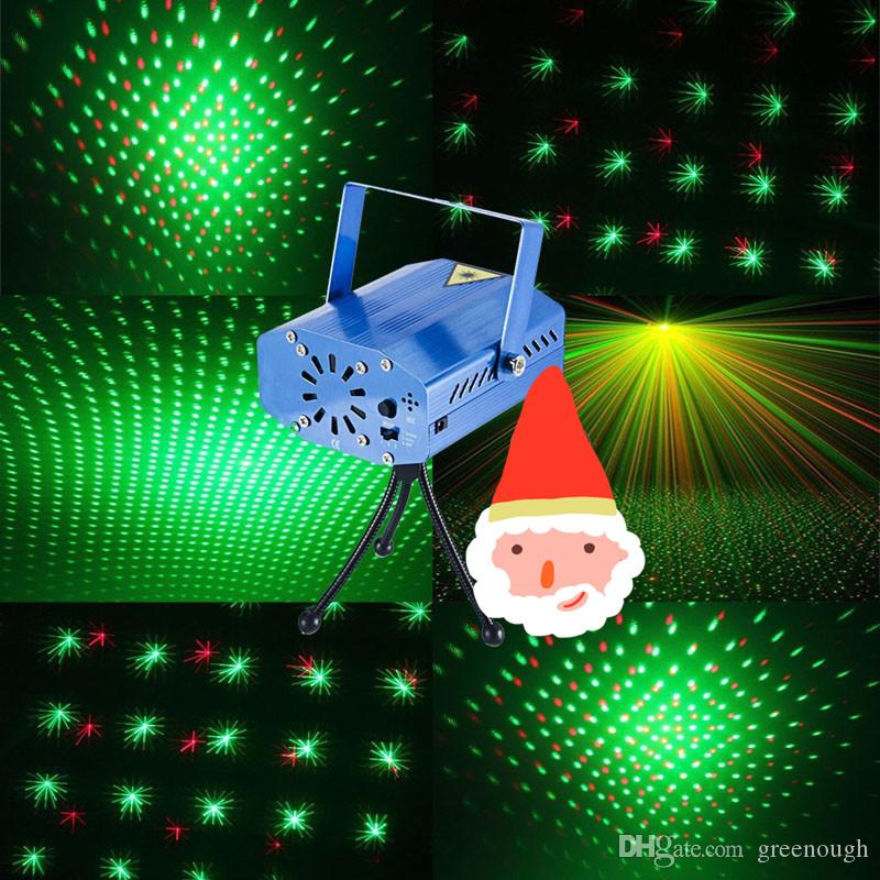 Portable Laser Stage Lights Red + Green Color All Sky Star Lighting Mini DJ Laser For Christmas Party Home Wedding Club Projector