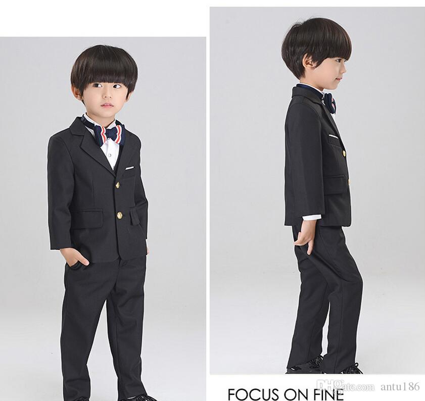 Hot Sale Boys Formal Wears Notched Lapel Two Buttons Bride Wedding Ring Bearer Kids Tuxedos Little Mens SuitsJacket+Pants