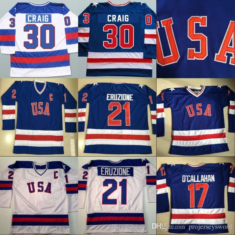 2019 1980 Miracle On Ice Hockey Jersey  17 Jack O Callahan  21 Mike  Eruzione  30 Jim Craig Men S 100% Stitched Team USA Hockey Jerseys Blue  White From ... 1bcfeb29c