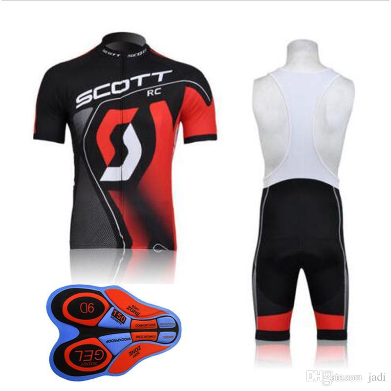 Outdoor Bicycle 2017 New Scott Short Sleeves Cycling Jerseys 9D Gel Padded Bib shorts set Summer Style Mtb Maillot Ciclismo F2401