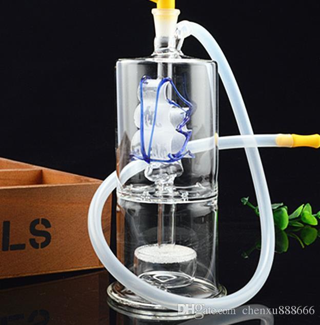 Парусный немой 2-слойный стеклянный кальян, отправить горшок аксессуары, стеклянные бонги, стеклянные водопроводные трубы, курение, цвет стиль случайная доставка