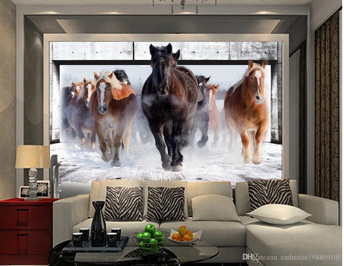 Grosshandel Naturliche Schone Pferd Wohnzimmer Tv Wandbild 3d