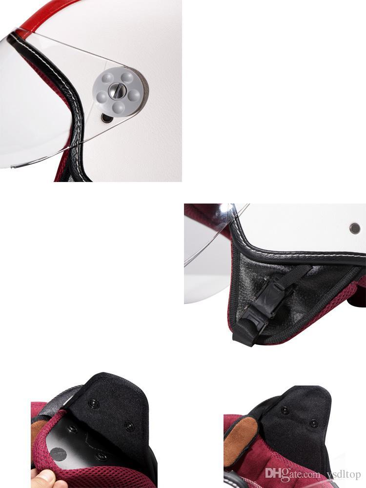 New Design Women and Men Open Face Half Motorcycle Helmet With Visor Leather Chopper Cruiser Biker Helmets DOT approved M/L/XL