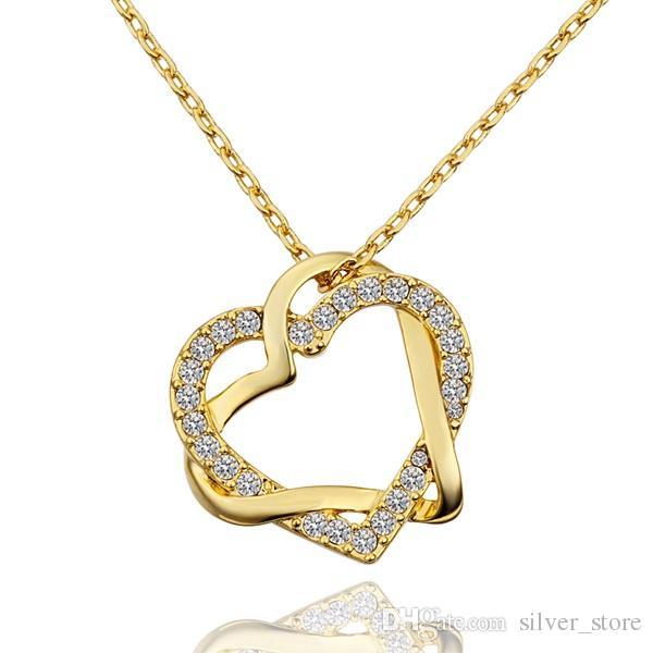 Ücretsiz kargo Kalp beyaz kristal 18 K altın Kolye kadınlar için, Marka yeni sarı altın mücevher kolye Kolye zincirleri SGN586 dahil