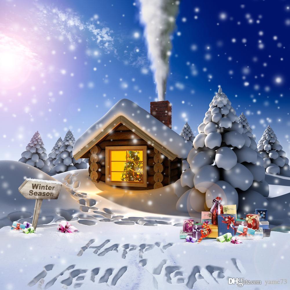 2018 5x7ft Vinyl Digital White Christmas Snow Tree Cabin House New ...