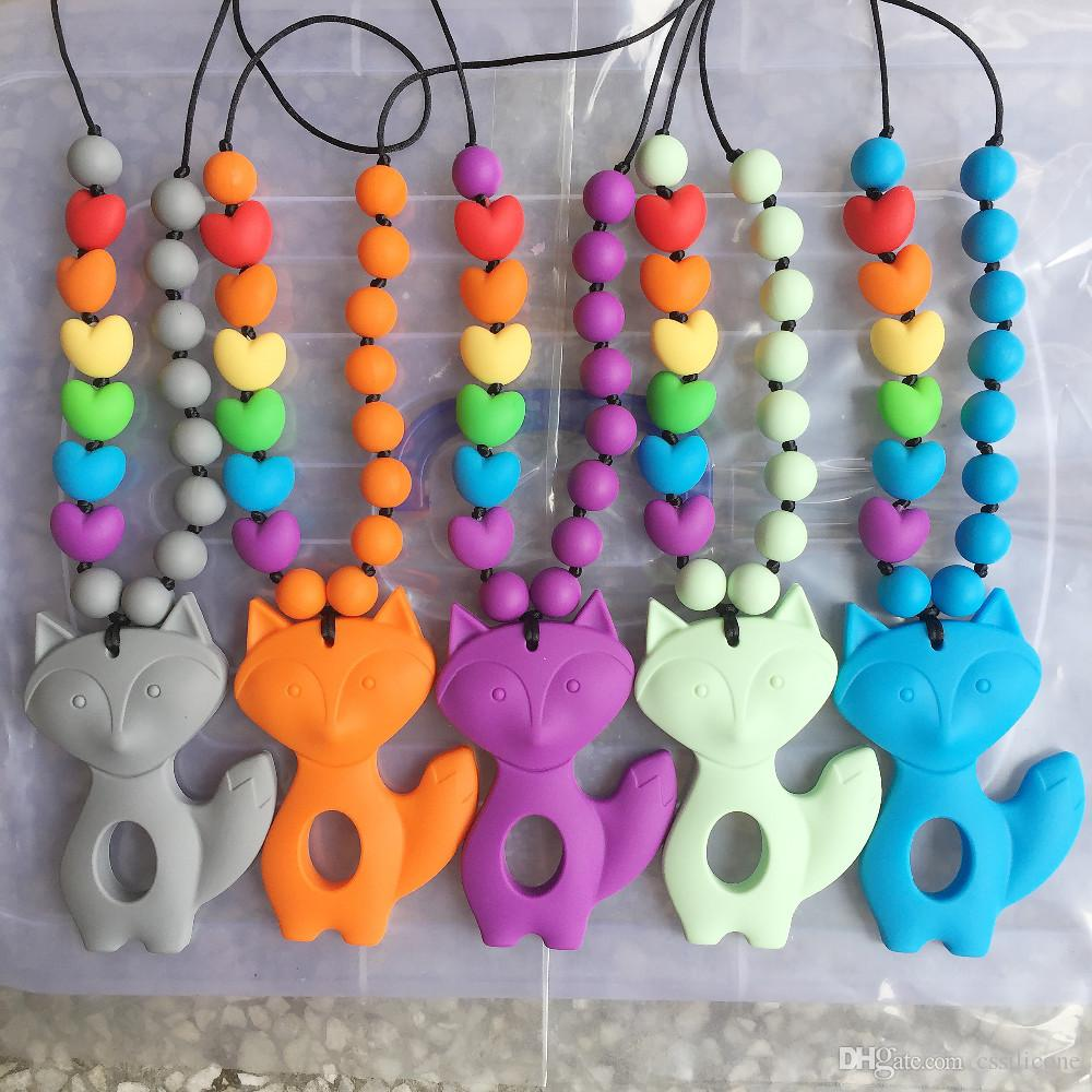 Silicone Teething Necklace/Pendant- Very Large Fox Teething Toy - Silicone Rainbow heart beads with Large Fox teether