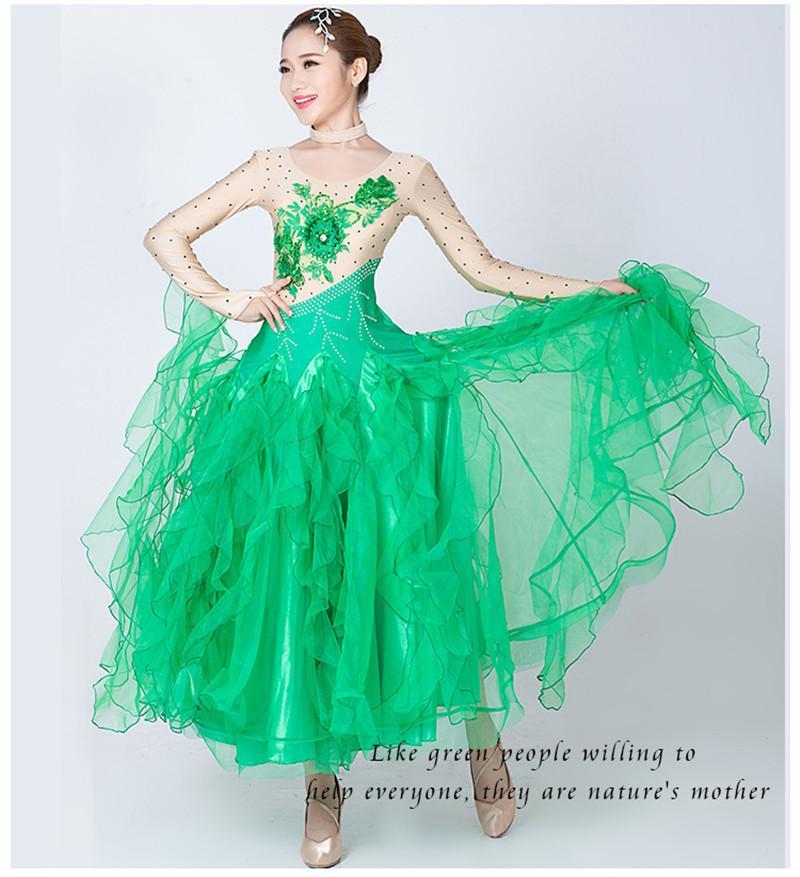 Modern Dance Kleid Frauen Diamant Stickerei Waltz Tango Foxtrot Quickstep Kostüm Wettbewerb Kleidung Standard Gesellschaftstanz rock2