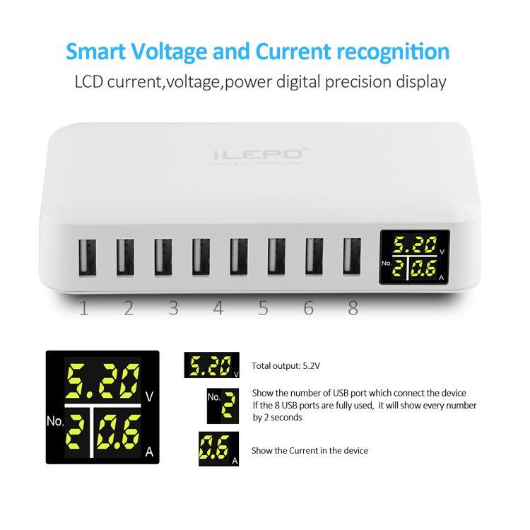 Chargeurs muraux 8Port Chargeur USB intelligent Mobile iPad Ordinateur portable 8 en 1 Station de charge USB pour iPhone Samsung Galaxy Xiaomi mi5 Huawei