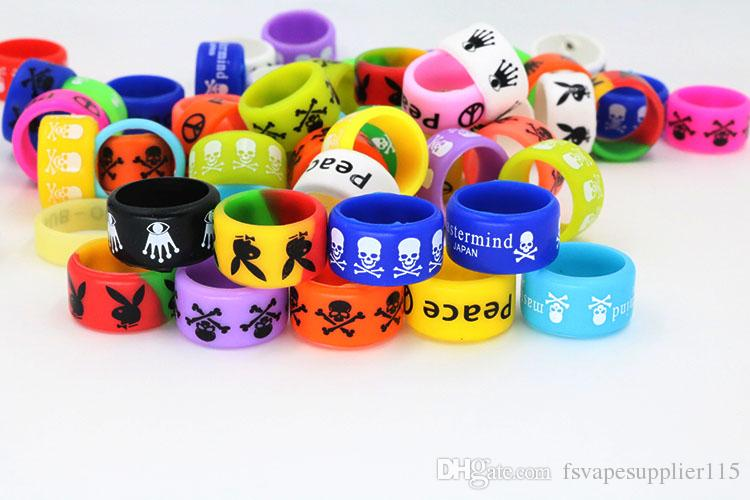 FS Vape Band Decorate Ring Silicon 18mm*12mm Antislip Rubber Ring Various Color Skull/Nevermind/Peace Free DHL shipping
