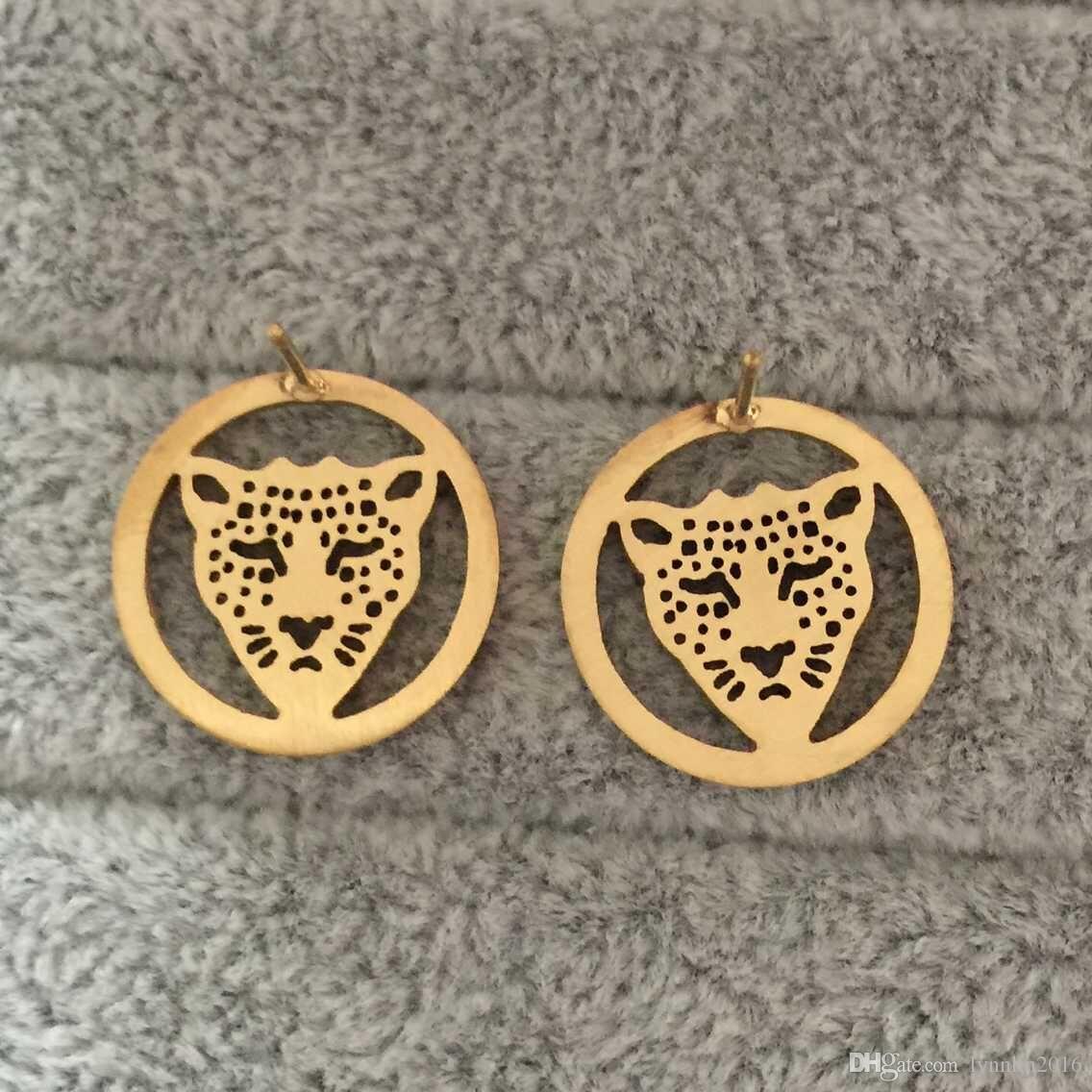 الشرير نمط إلكتروني الفاخرة 18 كيلو الذهب مطلي الفهد رئيس الجوف جولة تشيكوسلوفاكيا الماس أقراط للنساء