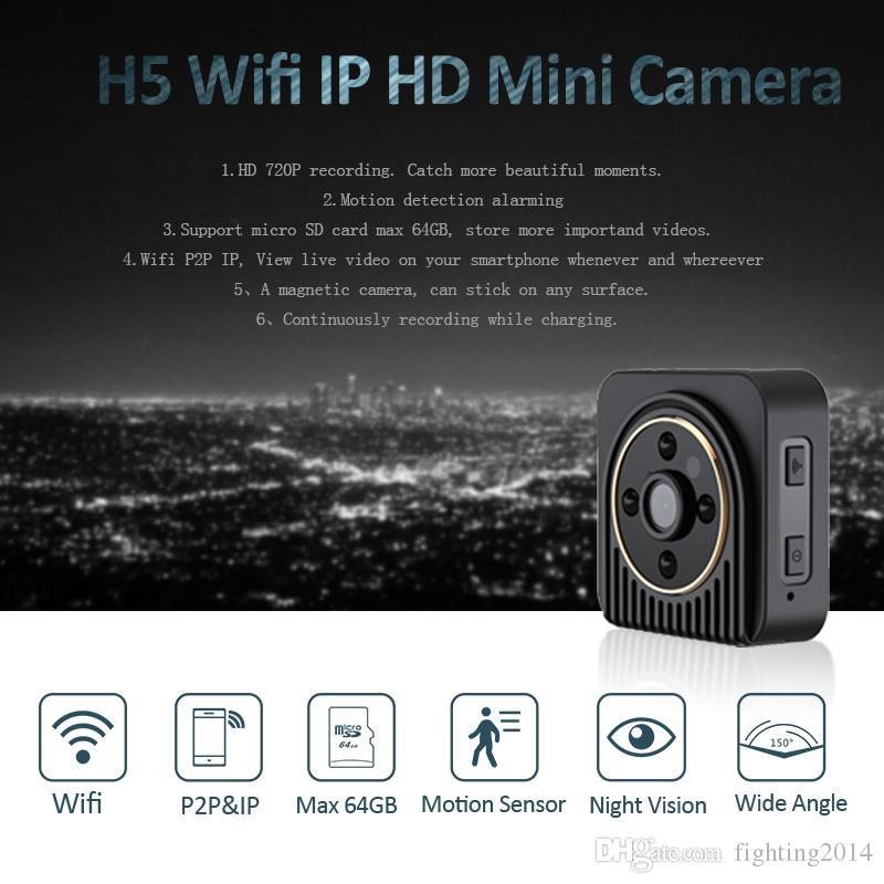 Wifi Mini IP camera P2P Night Vision HD 720P Mini DV DVR Wireless Surveillance Wearable Body Camera support 150 degree wide angle lens