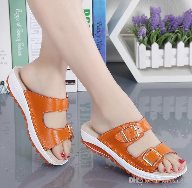 2019 mujeres de verano sandalias planas zapatos de ocio zapatillas slip-on cómodas sandalias cabeza de pescado chanclas zapatos femeninos