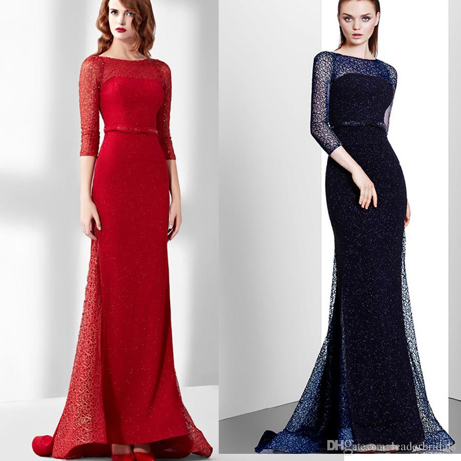 Illusion Evening Gowns Beaded Formal Gown 2018 Real Photos Sheath ...